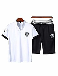 cheap -summer man's group casual two-piece suit trend short-sleeved shorts(white,l)