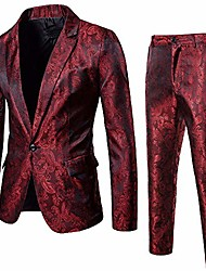 cheap -men dress suit 2 piece paisley one button business dinner suits party wedding blazer pants sets (xxl, wine red)
