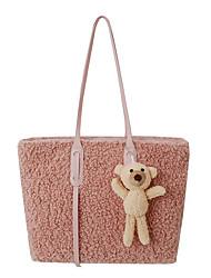 cheap -Women's Bags Faux Fur Tote Top Handle Bag Zipper Fur Bag Daily Office & Career White Black Blushing Pink Brown