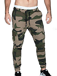 cheap -men's casual stretch waist training joggers in sports camouflage slacks