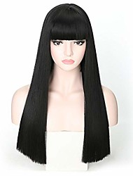 cheap -22 inch black wig with bangs long straight synthetic cosplay women wig average size
