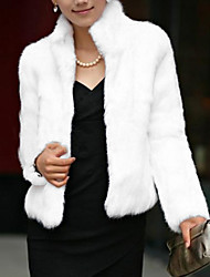 cheap -Women's Winter Stand Collar Fur Coat Short Solid Colored White Black S M L XL