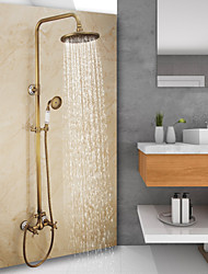 cheap -Antique Brass Shower System, Vintage Style Mount Outside Waterfall Pullout Included Rainfall Shower and Hot/Cold Switch