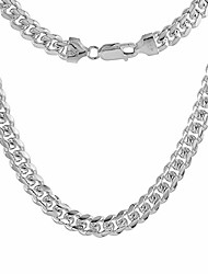 cheap -sterling silver 7mm miami cuban link chain necklace domed surface nickel free italy 26 inch