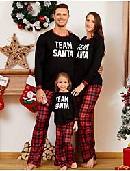 cheap -Family Look Letter Print Long Sleeve Regular Regular Clothing Set Black