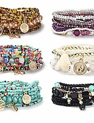 cheap -6 sets bohemian stackable bracelets for women multilayered stretch bead bracelet set boho bangles multicolor fashion jewelry