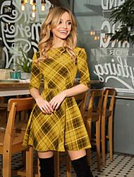 cheap -Women's A-Line Dress Short Mini Dress - Half Sleeve Geometric Patchwork Print Spring Fall Formal Sexy 2020 Blue Red Yellow Gray S M L XL