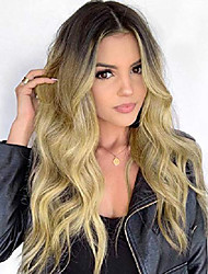 cheap -ombre golden blonde synthetic natural long curly wave wig dark roots costume heat resistant wigs for women girls