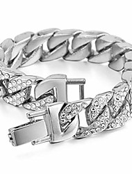 cheap -mens womens cuban link bracelet hip hop bracelet stainless steel chain bracelet iced out curb cuban 18k gold plated bracelet with clear rhinestones (silver)