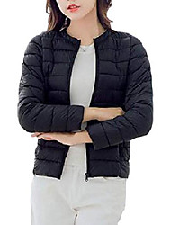 cheap -women puffer quilted outwear packable cotton-padded down jacket black xs