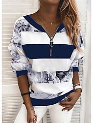 cheap -Women's Blouse Shirt Striped Color Block Long Sleeve Print V Neck Tops Loose Basic Top Blue Yellow Blushing Pink