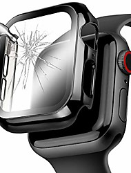 cheap -for apple watch series 5 44mm screen protector, mirror surface pc hard apple watch case 44mm series 5 bumper face cover with hd temper glass for iwatch series 5/4 (black, 40 mm)