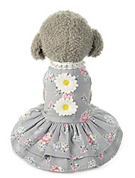 cheap -cute dog cat flower bow tutu dress lace skirt pet puppy princess costume clothes apparel (gray, s)