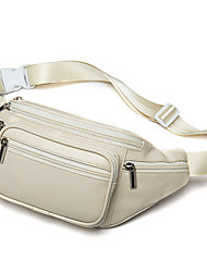 cheap -Unisex Bags Faux Leather Fanny Pack Zipper 2020 Daily Outdoor White Black