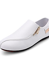 cheap -men's loafer and slip on walking driving shoes leather upper outdoor casual shoes white