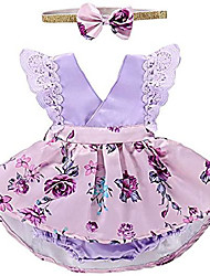 cheap -infant baby girls clothes tulle tutu dress newborn birthday outfits floral sleeveless cotton sundress purple