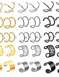 cheap -15 pairs stainless steel ear cuff for men women non piercing helix ear clip fake cartilage earrings for teen