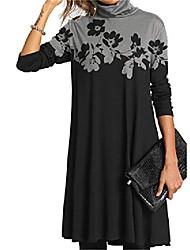 cheap -Women's Shift Dress Knee Length Dress Multi-Color Black stripes blue stripes Color stripes Cashew flowers Five-color flower Abstract face Gradient color-gray Gradient color-blue Flower-grey Long
