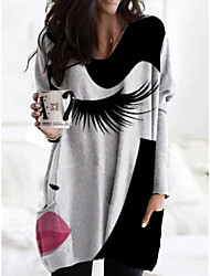 cheap -Women's Shift Dress Knee Length Dress - Long Sleeve Print Print Fall V Neck Casual Loose 2020 Black S M L XL XXL 3XL