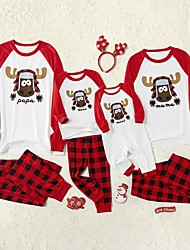 cheap -Family Look Family Matching Outfits Clothing Set Letter Animal Long Sleeve Print Red Christmas