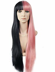 cheap -righton long half black half pink wig long straight two tone wig with bangs halloween costume party wig with wig cap