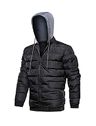 cheap -men's winter puffer jacket thicken cotton coat quilted down outwear with removable hood black 2xl