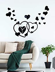 cheap -Home Love Heart-shaped Acrylic Mirror Wall Clock Mute Movement Self-adhesive Mirror Wall Sticker Clock ZB034 60cm*50cm