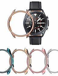 cheap -case compatible with samsung galaxy watch 3 41mm cover, 4 packs bling diamonds rhinestones protector hard pc bumper frame (indigo+rose gold+pink+silver, 41mm)