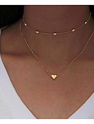 cheap -Layered Necklace Women's Layered Floral / Botanicals Heart Simple Cute Gold 45+7 cm Necklace Jewelry 1pc for Daily Carnival irregular Heart Shape