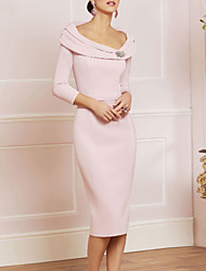 cheap -Sheath / Column Mother of the Bride Dress Plus Size Elegant Vintage Scoop Neck Knee Length Jersey 3/4 Length Sleeve with Beading Crystal Brooch 2021
