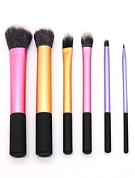 cheap -6PCS Color Long Aluminum Tube Makeup Brush Set Powder Brush Eye Shadow Brush Beauty Makeup Tool Combination
