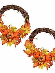 """cheap -pack of 2 artificial pumpkin wreath 12"""" fall door wreath autumn harvest wreath for fall thanksgiving halloween home decor"""