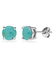 cheap -sterling silver simulated turquoise round 6mm prong-set stud earrings