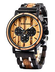 cheap -Dress Watch Quartz Calendar / date / day Dual Time Zones Analog Black / Brown / Wood