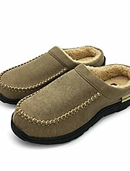 cheap -men's moccasin slippers warm winter memory foam house shoes (11-12 m us, brown)