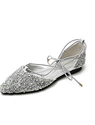 cheap -Women's Flats Flat Heel Pointed Toe Classic Daily PU Rhinestone Sequin Solid Colored Black Gold Silver
