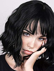 cheap -short curly wavy wig with bangs black bob wavy short wigs for women shoulder length synthetic heat resistant fiber wigs (black)