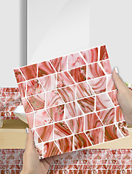 cheap -Imitation Epoxy Tile Sticker Pink Orange Mosaic Water Corrugated Wall Sticker House Renovation DIY Self-adhesive PVC Wallpaper Painting Kitchen Waterproof and Oilproof Wall Sticker