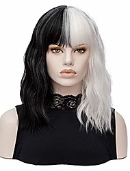 cheap -morticia shoulder length short curly women full bang heat resistant fiber girls replacement bob wig (white and black)