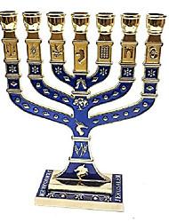 """cheap -golden menorah 7 branch 12 tribes of israel jerusalem menora blue enamel 4.7"""""""