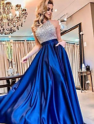 cheap -Women's A Line Dress Maxi long Dress Blue Sleeveless Solid Color Backless Sequins Patchwork Fall Round Neck Formal 2021 S M L XL