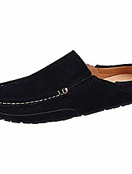 cheap -men's comfortable suede carpet slippers mules driving loafers moccasins black sn19058 us9.5