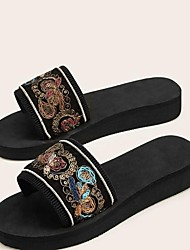 cheap -Women's Slippers & Flip-Flops Outdoor Slippers Beach Slippers Platform Open Toe Casual Sweet Daily Outdoor Polyester Imitation Pearl Solid Colored Black