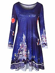 cheap -women long sleeve vintage xmas christmas printing round neck party dress(xx-large,dark blue)