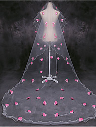cheap -One-tier Flower Style / Basic Wedding Veil Chapel Veils with Petal / Appliques 118.11 in (300cm) Tulle
