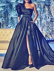 cheap -A-Line Minimalist Sexy Engagement Formal Evening Dress One Shoulder Half Sleeve Court Train Satin with Pleats Split 2020