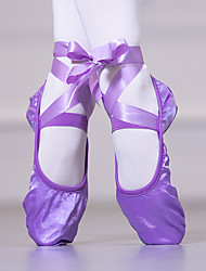 cheap -Women's Dance Shoes Ballet Shoes Flat Flat Heel Almond Purple Red Lace-up Adults'