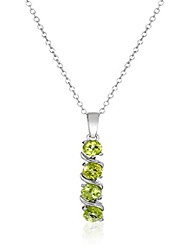 cheap -sterling silver genuine peridot pendant necklace, 18""