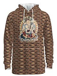 cheap -Men's Women's Pullover Hoodie Sweatshirt Graphic 3D Chinese Style Hooded Weekend 3D Print Casual Streetwear Hoodies Sweatshirts  Long Sleeve Camel
