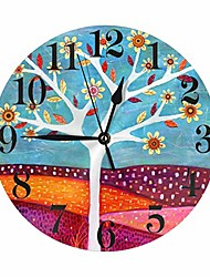 cheap -decorative tree flowers and autumn leaf wall clock battery operated silent non ticking round clock art wall decor for home, office, school 9.8 inch